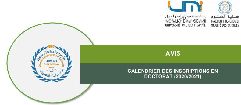 Avis aux étudiants – Calendrier Des Inscriptions En Doctorat (2020/2021)