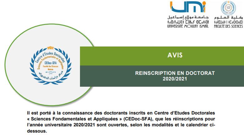 Avis aux doctorants – REINSCRIPTION EN DOCTORAT 2020/2021