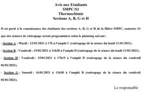 Avis aux Etudiants SMPC/S1 Thermochimie Sections A, B, G et H