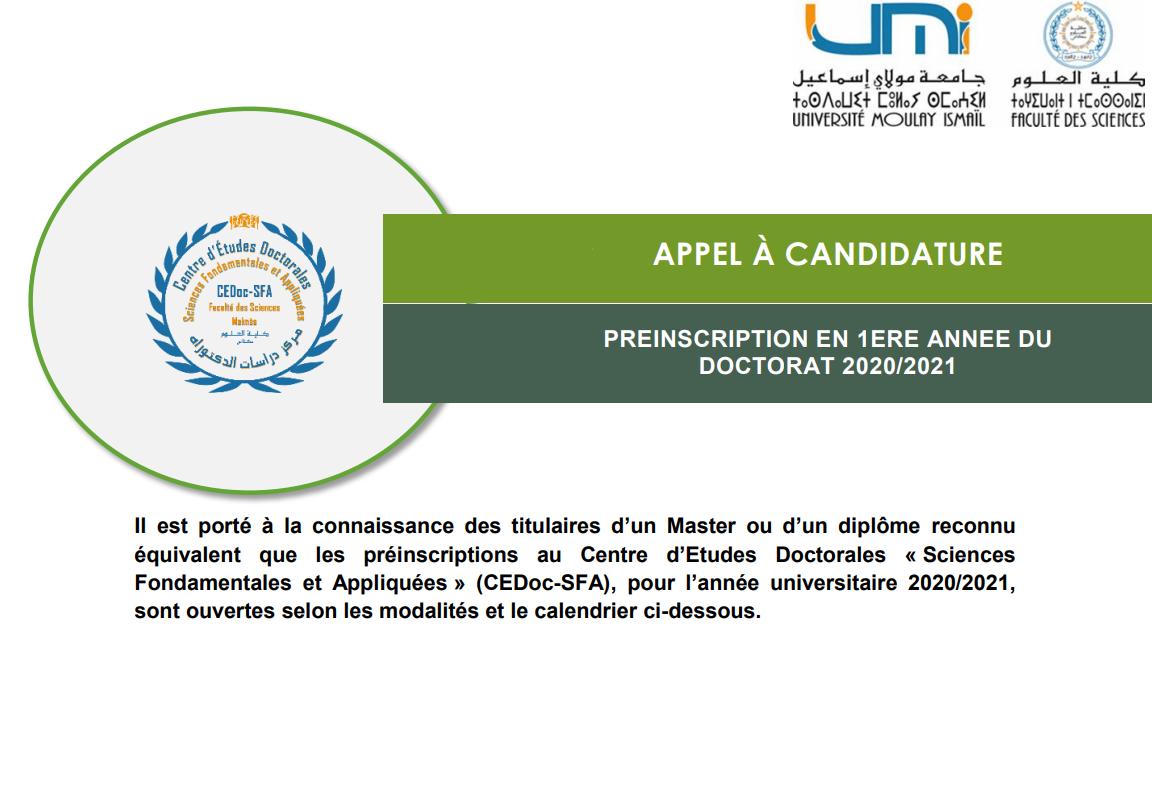 Préinscription En 1ere Année Du Doctorat 2020/2021