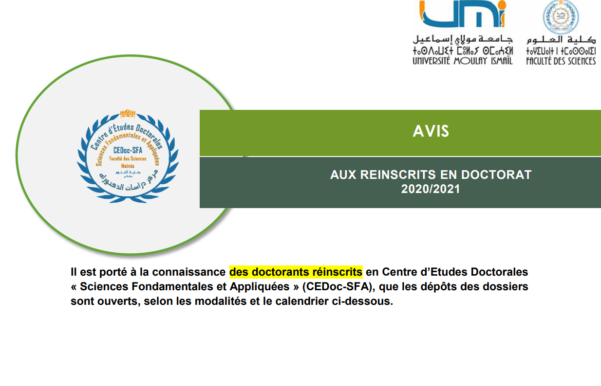 AVIS AUX REINSCRITS EN DOCTORAT 2020/2021