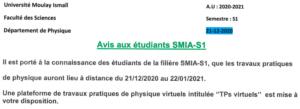 Avis aux étudiants SMIA-S1