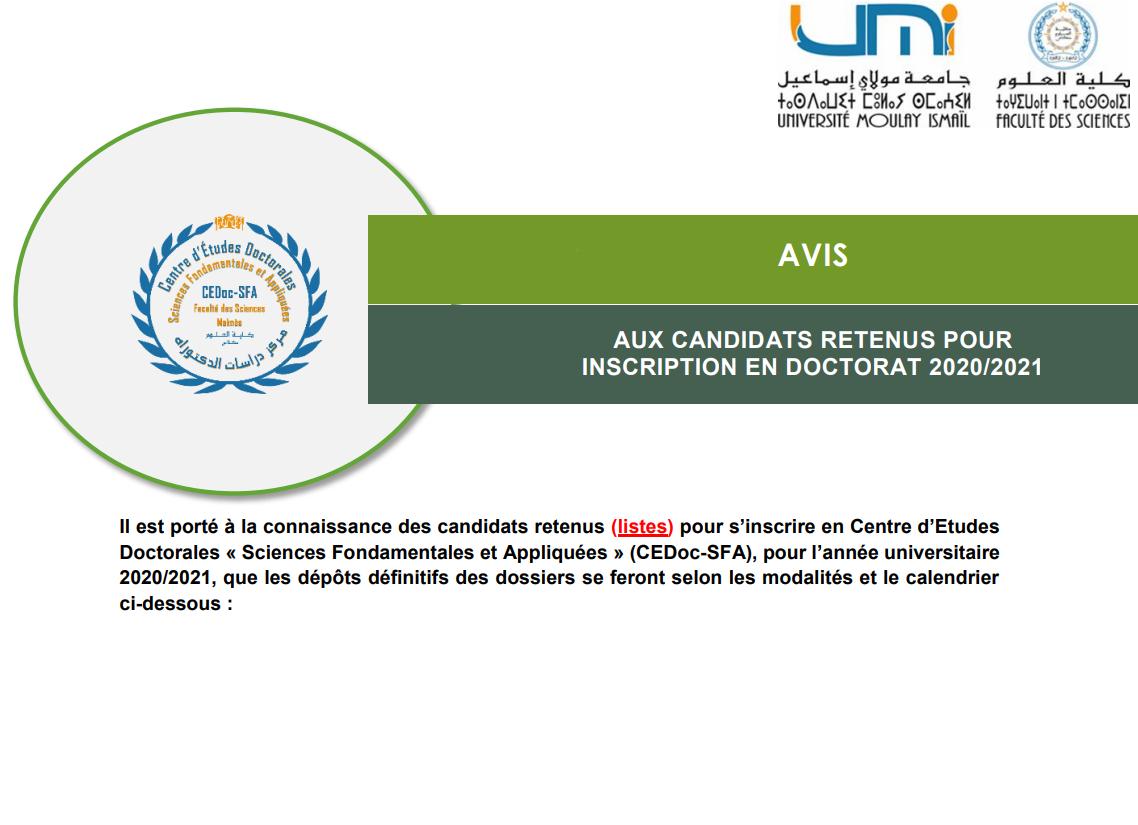 AVIS AUX CANDIDATS RETENUS POUR INSCRIPTION EN DOCTORAT 2020/2021