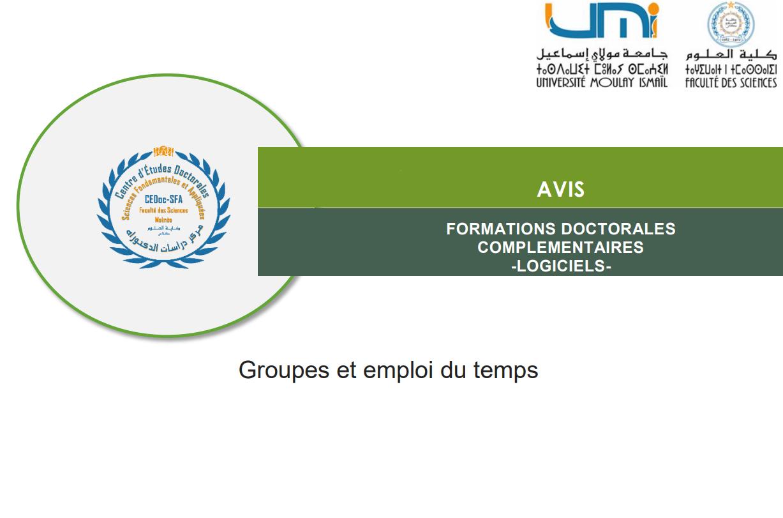 Formations Doctorales Complémentaires -Logiciels- Groupes et emploi du temps