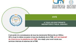 Read more about the article AVIS A TOUS LES DOCTORANTS-INSCRIPTION E-TASJIL 2020/2021