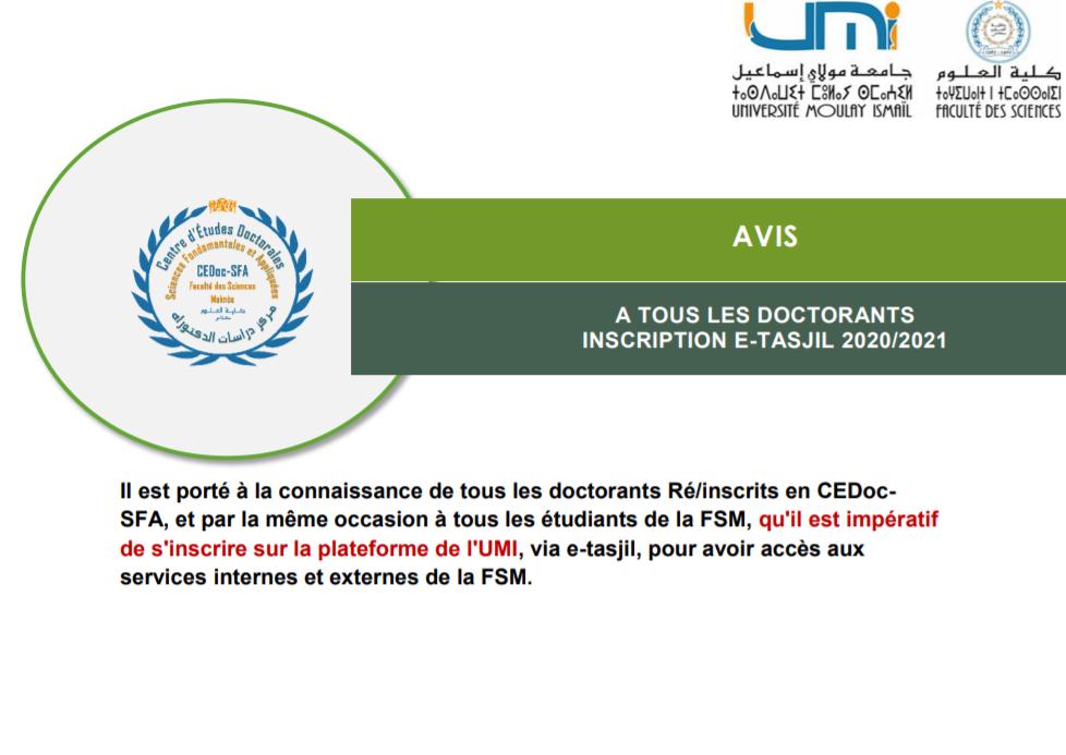 AVIS A TOUS LES DOCTORANTS-INSCRIPTION E-TASJIL 2020/2021