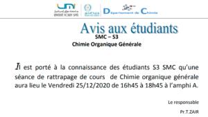 Avis aux étudiants SMC – S3 Chimie Organique Générale