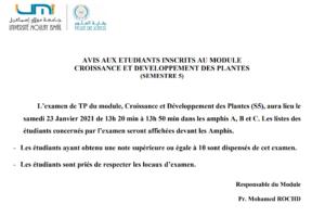 AVIS AUX ETUDIANTS INSCRITS AU MODULE  CROISSANCE ET DEVELOPPEMENT DES PLANTES (SEMESTRE 5)