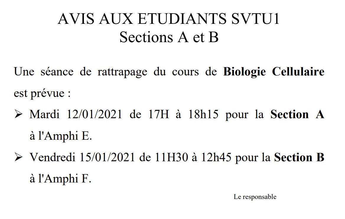AVIS AUX ETUDIANTS SVTU1 Sections A et B