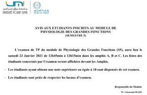 AVIS AUX ETUDIANTS INSCRITS AU MODULE DE PHYSIOLOGIE DES GRANDES FONCTIONS (SEMESTRE 5)