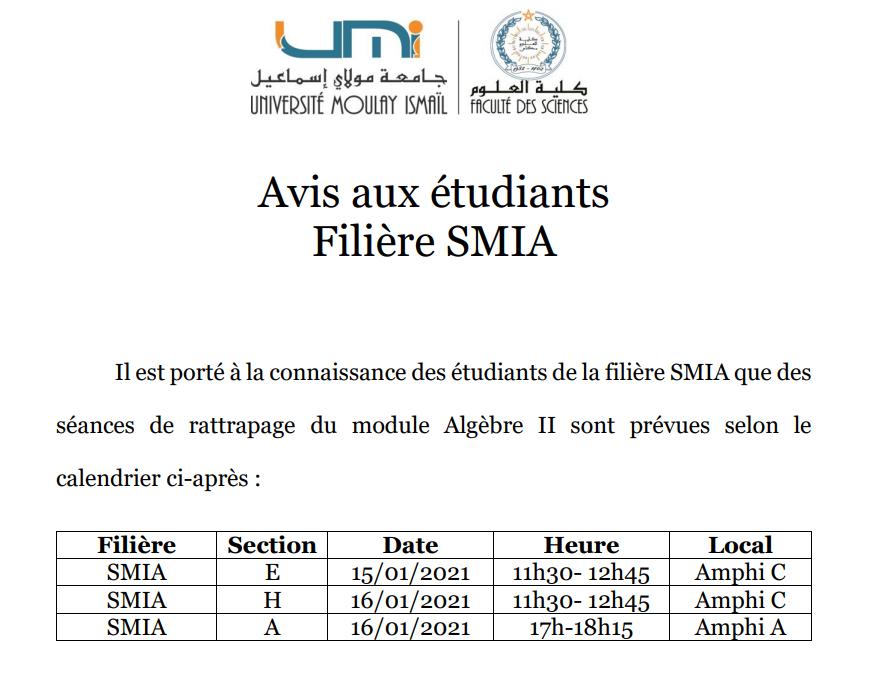 Avis aux étudiants Filière SMIA