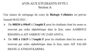 AVIS AUX ETUDIANTS SVTU1 – Section A et Section B