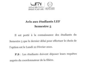 Avis aux étudiants LEF S5