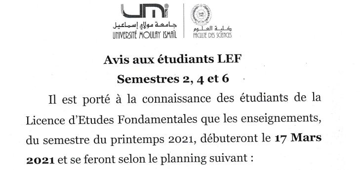 Avis aux étudiants LEF-Printemps 2021