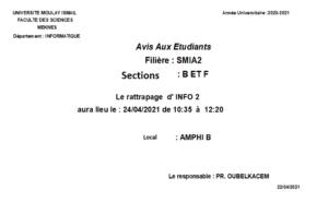 Read more about the article Avis aux étudiants SMIA S2
