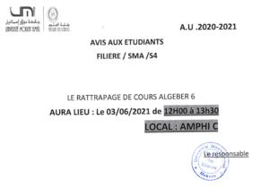 Read more about the article Avis aux étudiants SMA S4