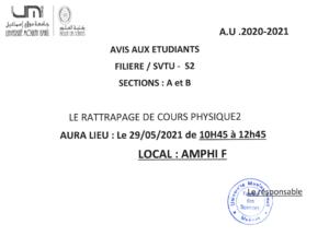 Read more about the article Avis aux étudiants STVU S2