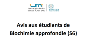 Read more about the article Avis aux étudiants de Biochimie approfondie (S6)