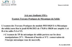 Read more about the article Avis aux étudiants SMA4
