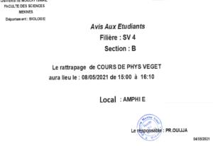 Read more about the article Avis aux étudiants SV 4