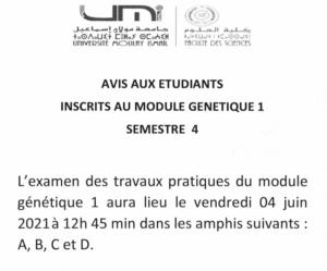 Read more about the article Avis aux étudiants SV4 – Génétique 1