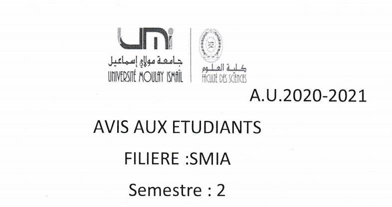 Avis aux étudiants SMIA S2 SECTIONS : C,E,F