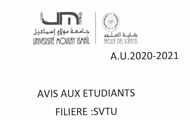 Avis aux étudiants SVTU S2 Sections : C et E