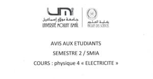 Avis aux étudiants SMIA 2