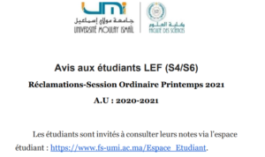 Read more about the article Avis aux étudiants LEF (S4/S6) Réclamations-Session Ordinaire Printemps 2021