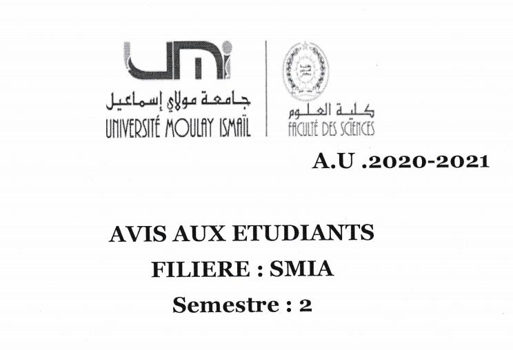Avis aux étudiants SMIA S2 Sections: E et F,C et E