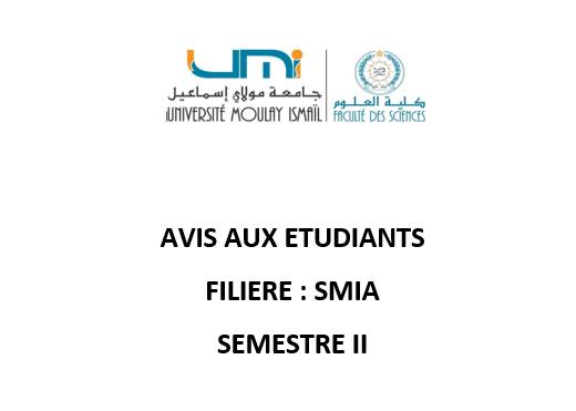 Avis aux étudiants SMIA S2