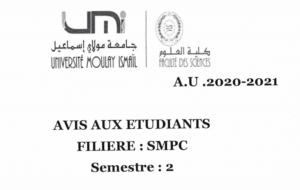 Read more about the article Avis aux étudiants SMPC S2 Sections:C et D,E et F