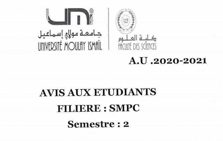 Avis aux étudiants SMPC S2 Sections:C et D,E et F