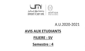 Read more about the article Avis aux étudiants SV S4
