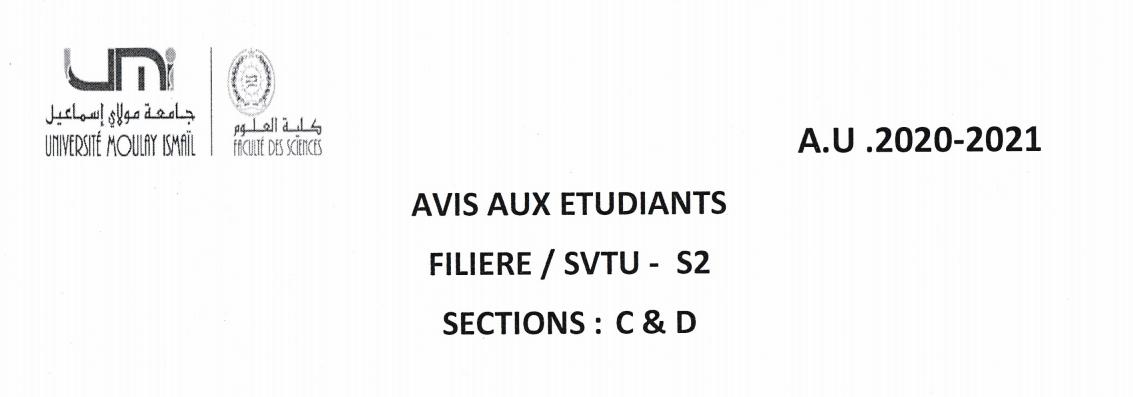 Avis aux étudiants SVTU S2 Sections: C et D