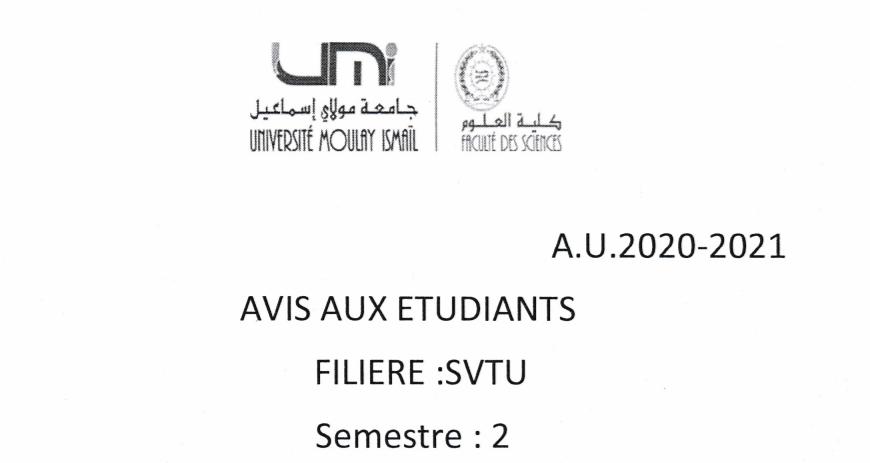 Avis aux étudiants SVTU S2