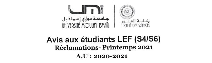 Read more about the article Avis aux étudiants LEF (S4/S6)