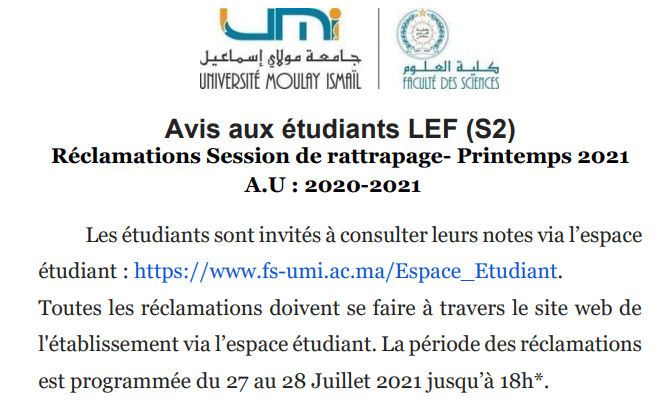 Read more about the article Avis aux étudiants LEF (S2) Réclamations Session de rattrapage- Printemps 2021 A.U : 2020-2021