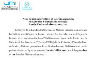 Read more about the article Avis de préinscription-Année Universitaire 2021/2022