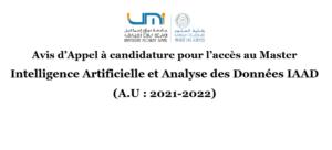 Read more about the article Avis d'Appel à candidature pour l'accès au Master<br>Intelligence Artificielle et Analyse des Données IAAD<br>(A.U : 2021-2022)