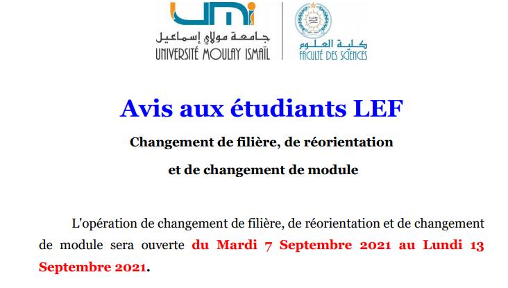 Read more about the article Avis aux étudiants LEF<br>Changement de filière, de réorientation<br>et de changement de module