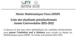 Read more about the article Master Mathématiques Pures (MMP)<br>Liste des étudiants présélectionnés<br>Année Universitaire 2021-2022
