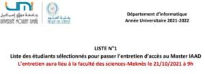 Read more about the article Liste des étudiants sélectionnés pour passer l'entretien d'accès au Master IAAD