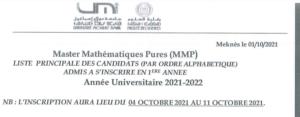 Read more about the article Listes principale et d'atente MMP 2021-2022