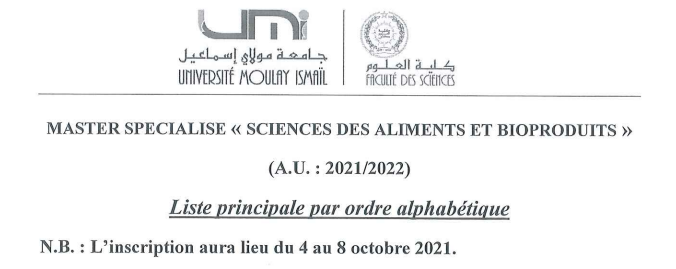 Read more about the article Liste principale Master SAB 2021-2022