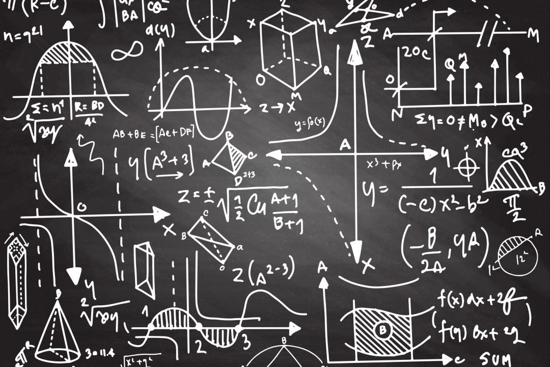 Physical formulas and phenomenon. science board with math. physics education at school
